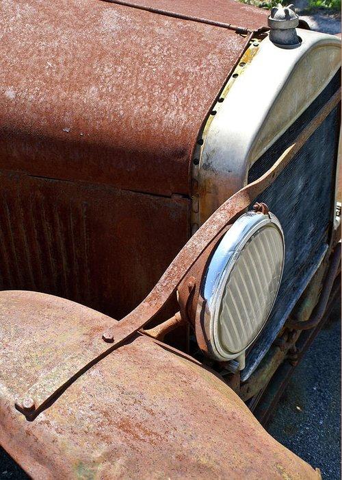 Anatique Greeting Card featuring the photograph Antique Car Headlamp 2 by Douglas Barnett