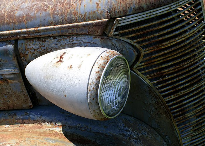 Antique Greeting Card featuring the photograph Antique Car Headlight by Douglas Barnett