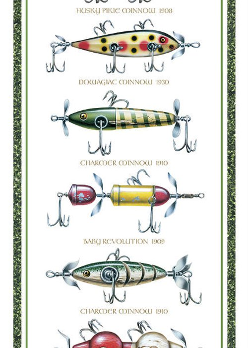 Jon Q Wright Greeting Card featuring the painting Antique Lure Panel by JQ Licensing