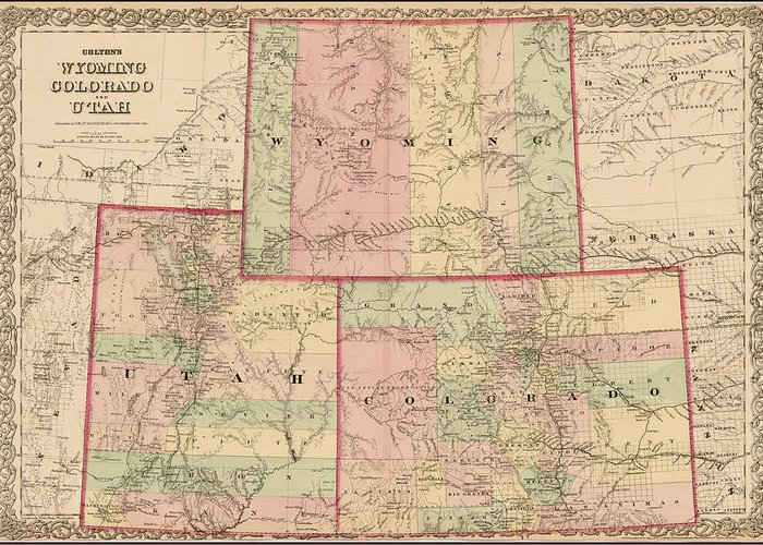 Antique Map - Colton\'s Wyoming Colorado And Utah 1876 Greeting Card ...