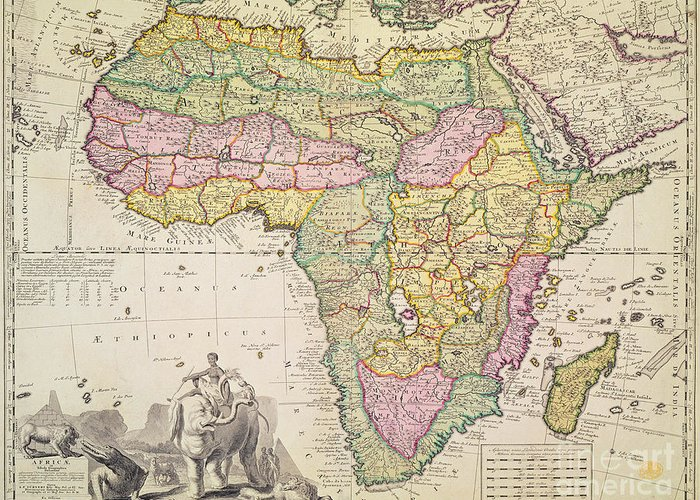 Geography Greeting Card featuring the drawing Antique Map Of Africa by Pieter Schenk