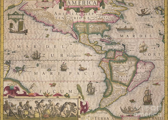 Maps Greeting Card featuring the drawing Antique Map Of America by Jodocus Hondius