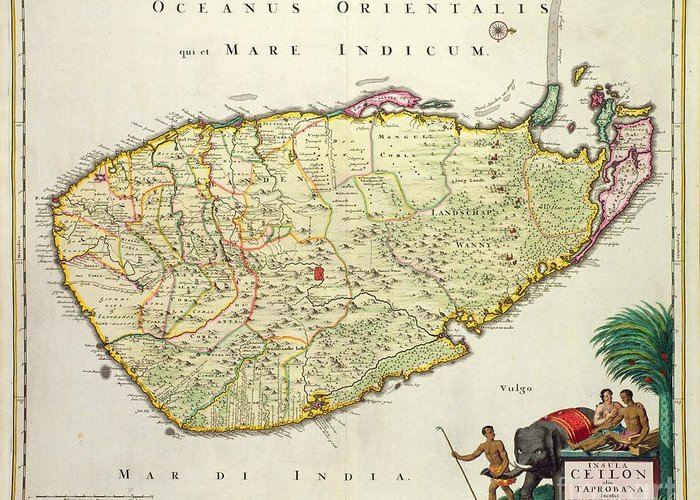 Nation Greeting Card featuring the drawing Antique Map Of Ceylon by Nicolas Visscher