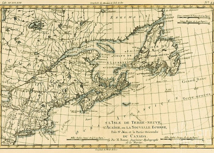 Map; North America; Prince Edward Island; Gulf Of St Lawrence; Quebec; Qc Greeting Card featuring the drawing Antique Map Of Eastern Canada by Guillaume Raynal