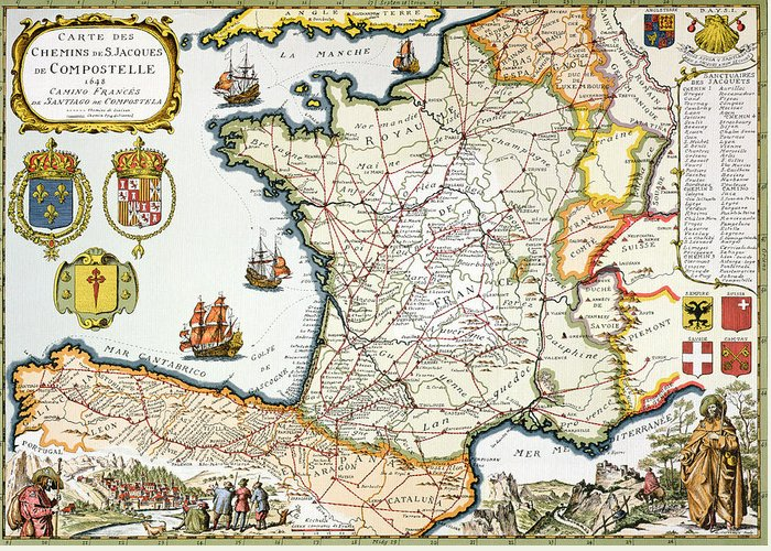 Maps Greeting Card featuring the drawing Antique Map Of France by French School