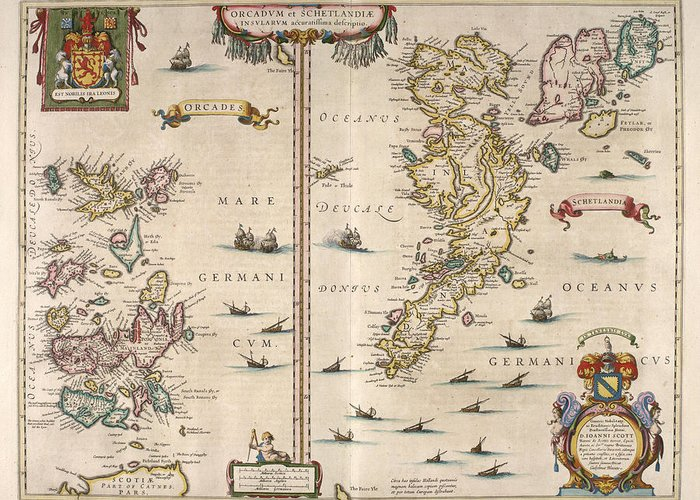 Antique Map Greeting Card featuring the drawing Antique Maps - Old Cartographic Maps - Antique Map Of Schetland And Orkney Islands - Scotland,1654 by Studio Grafiikka