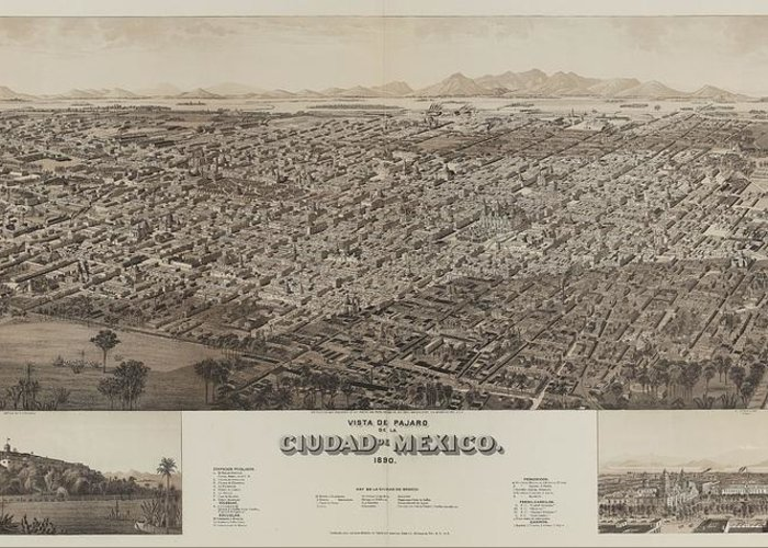 Antique Map Of Ciudad Greeting Card featuring the drawing Antique Maps - Old Cartographic Maps - Antique Map Of Ciudad, Mexico, 1890 by Studio Grafiikka