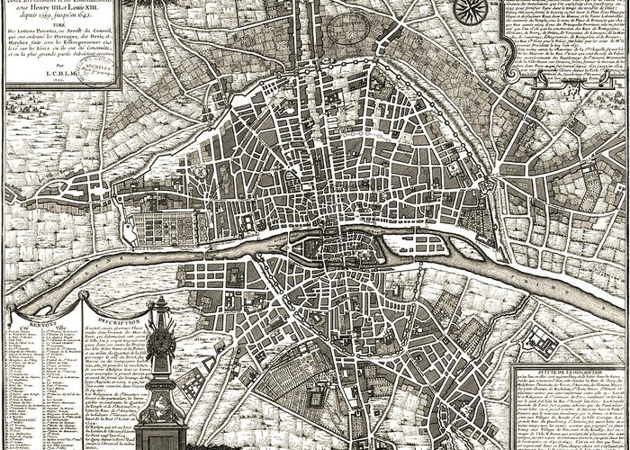 Antique Paris Map Greeting Card featuring the drawing Antique Maps - Old Cartographic Maps - Antique Map Of Paris, France, 1643 by Studio Grafiikka