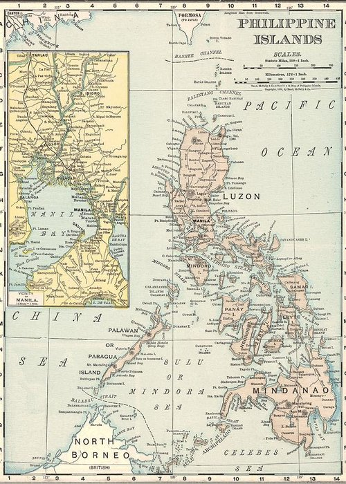 Antique Philippine Island Map Greeting Card featuring the drawing Antique Maps - Old Cartographic Maps - Antique Map Of Philippine Islands And Manila Bay, 1898 by Studio Grafiikka