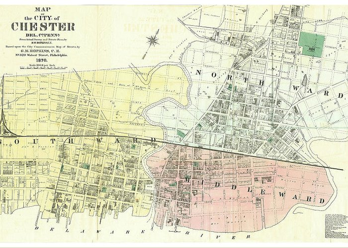 Antique Map Of The City Of Chester Greeting Card featuring the drawing Antique Maps - Old Cartographic Maps - Antique Map Of The City Of Chester, England, 1870 by Studio Grafiikka