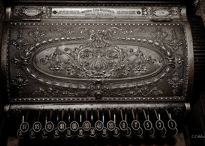 Cash Register Greeting Card featuring the photograph Antique Ncr - Sepia by Christopher Holmes