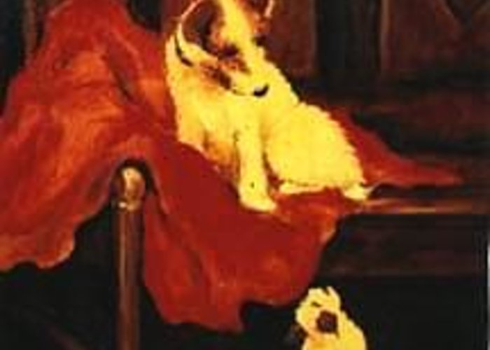 Antique Style Animal Artwork Greeting Card featuring the painting Antique Pups by Jordana Sands