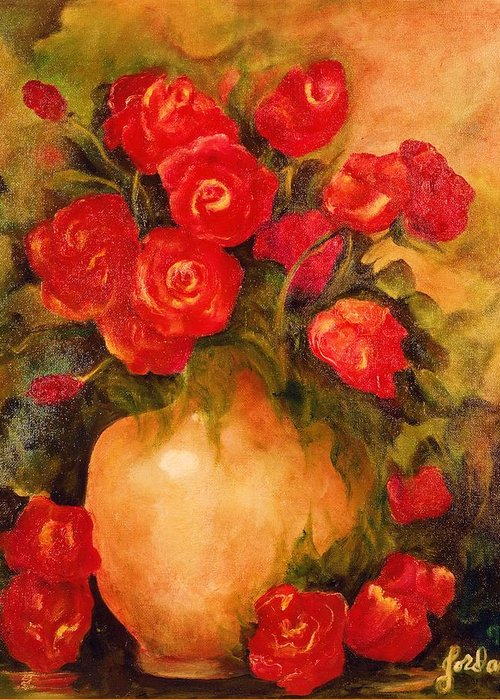 Pretty Greeting Card featuring the painting Antique Roses by Jordana Sands