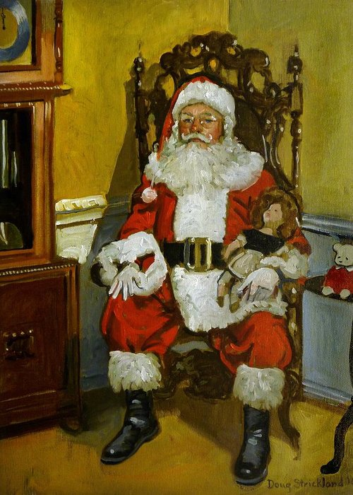 Doug Strickland Greeting Card featuring the painting Antique Santa by Doug Strickland