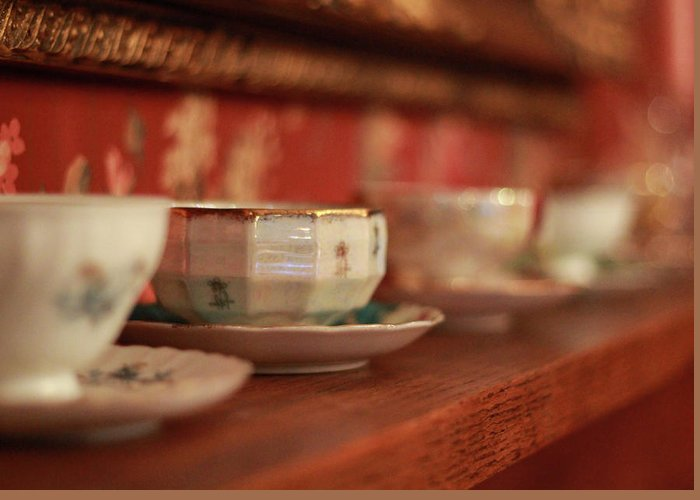 Tea Greeting Card featuring the photograph Antique Teacups by Cassie Jines