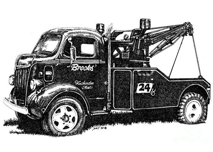 Vehicle Greeting Card featuring the drawing Antique Tow Truck by Sheryl Unwin