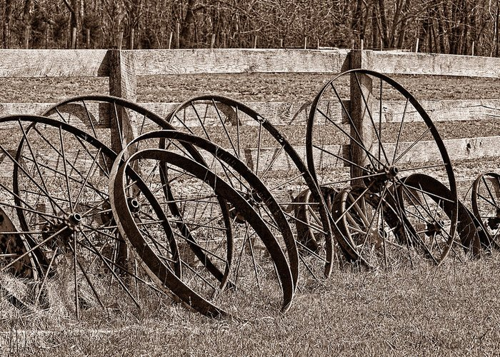 Wheel Greeting Card featuring the photograph Antique Wagon Wheels I by Tom Mc Nemar