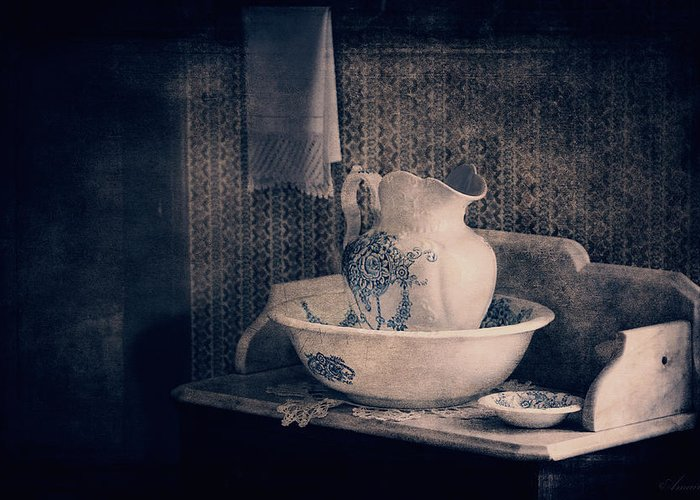 Old Greeting Card featuring the photograph Antique Wash Basin And Pitcher by Maria Angelica Maira