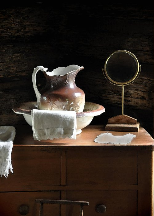 Old Carafe Greeting Card featuring the photograph Antique Water Pitcher On Bureau by Rebecca Brittain