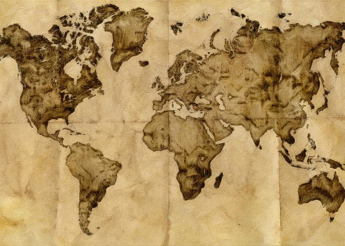 Antique World Map Greeting Card for Sale by Radu Aldea