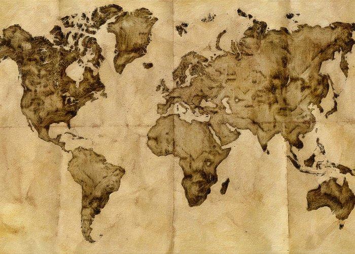 Antique World Map Greeting Card For Sale By Radu Aldea