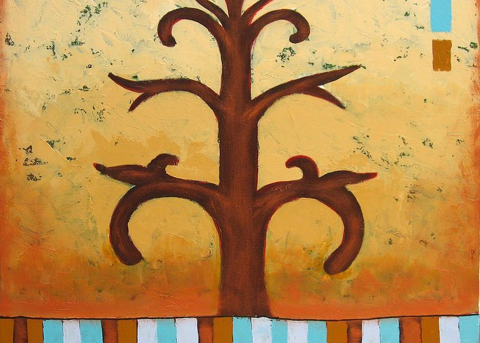 Tree Greeting Card featuring the painting Antiquity 2 by Aliza Souleyeva-Alexander