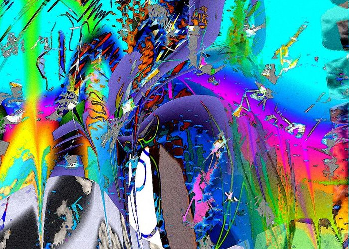 Abstract Red Blue Yellow Purple Greeting Card featuring the digital art Ants by Dave Kwinter