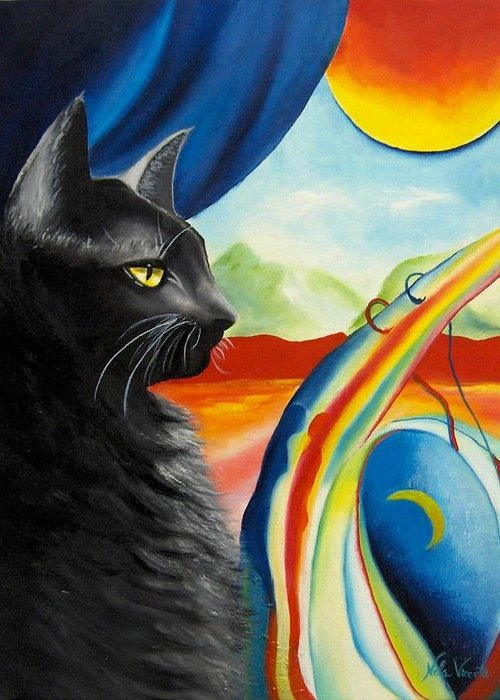 Surreal Cat Greeting Card featuring the painting Any Time by Nela Vicente