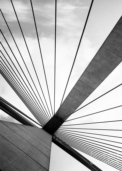 Abstract Greeting Card featuring the photograph Anzac Bridge by Elizabeth McPhee