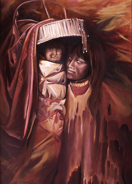 Native American Greeting Card featuring the painting Apache Girl And Papoose by Nancy Griswold