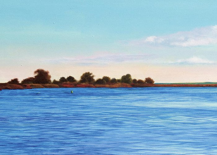 Gulf Of Mexico Greeting Card featuring the painting Apalachicola Bay Autumn Morning by Paul Gaj