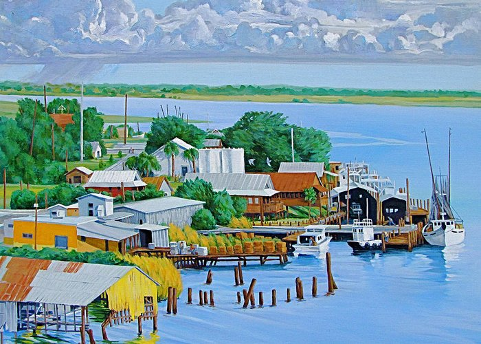 Waterfront Greeting Card featuring the painting Apalachicola Waterfront by Neal Smith-Willow