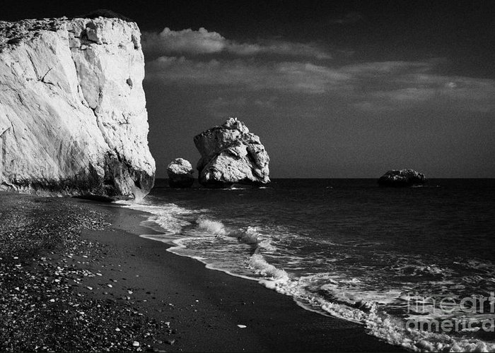 Aphrodites Greeting Card featuring the photograph Aphrodites Rock Petra Tou Romiou Republic Of Cyprus by Joe Fox