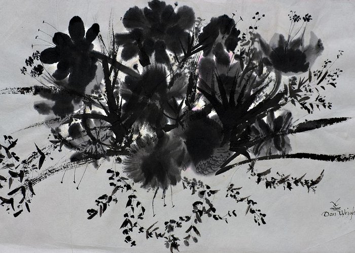 Chinese Ink Painting On Rice Paper Greeting Card featuring the painting Aplomb by Don Wright