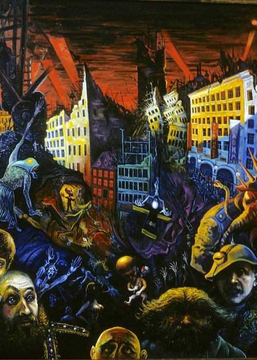Greeting Card featuring the painting Apocalypse by Ari Roussimoff