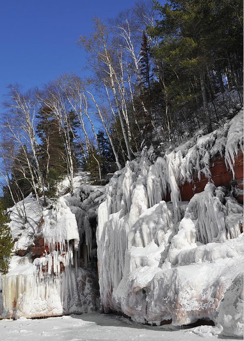 Apostle Islands National Lakeshore Greeting Card featuring the photograph Apostle Islands Cliffs Portrait by Kyle Hanson