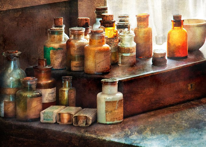 Uburbanscenes Greeting Card featuring the photograph Apothecary - Chemical Ingredients by Mike Savad