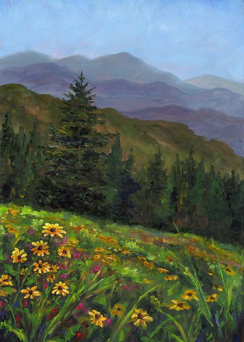 Wildflowers On The Mountain Hillside Of Blue Ridge Mountains Of Western North Carolina Near Ashevill Greeting Card featuring the painting Appalachian Color by Jeff Pittman