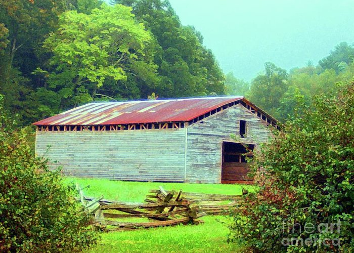 Appalachain Greeting Card featuring the mixed media Appalachian Livestock Barn by Desiree Paquette