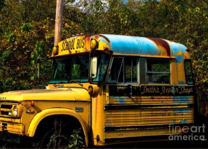 Bus Greeting Card featuring the photograph Appalachian Repair Shop by Steven Digman