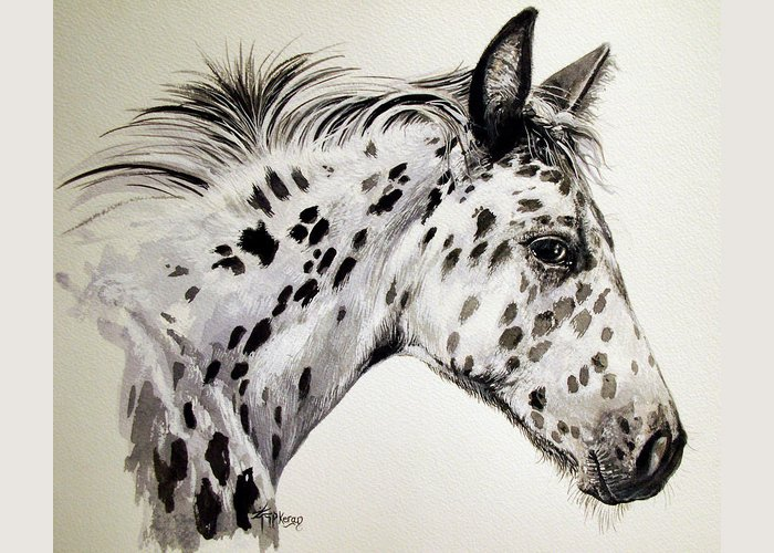 Appaloosa Horse Greeting Card featuring the painting Appaloosa by Keran Sunaski Gilmore