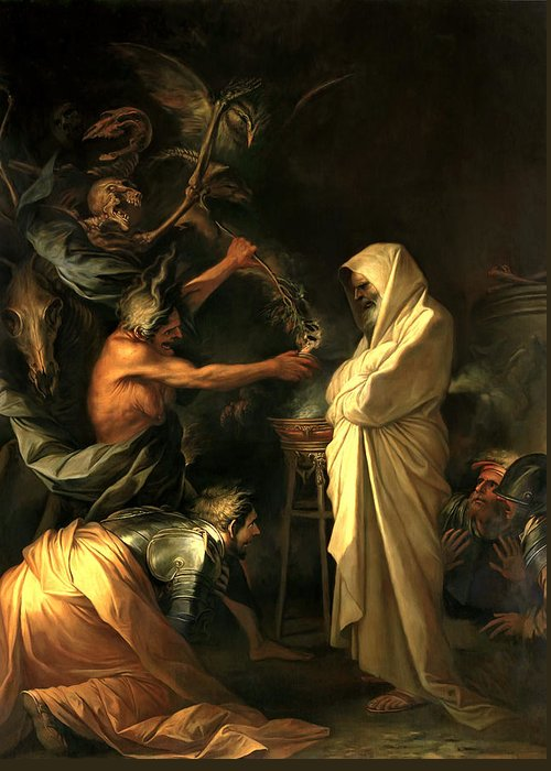 Salvator Rosa Greeting Card featuring the painting Apparition Of The Spirit Of Samuel To Saul by Salvator Rosa