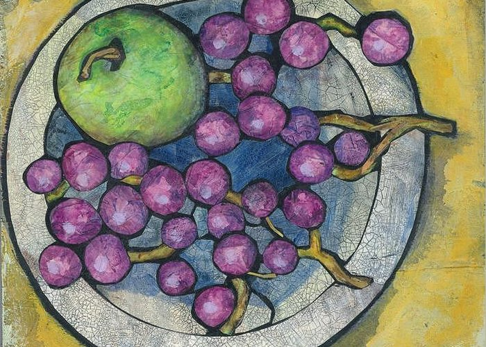 Apple Greeting Card featuring the painting Apple And Grapes by Barbara Nye