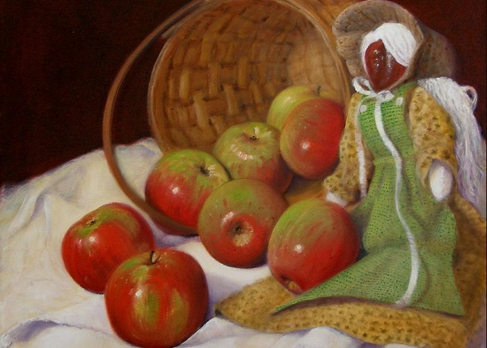 Realism Greeting Card featuring the painting Apple Annie by Donelli DiMaria