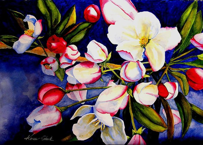 Apple Blossoms Greeting Card featuring the painting Apple Blossom Time by Karen Stark