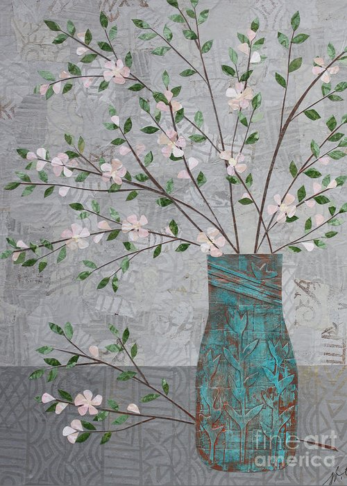 Art Collage Greeting Card featuring the mixed media Apple Blossoms In Turquoise Vase by Janyce Boynton