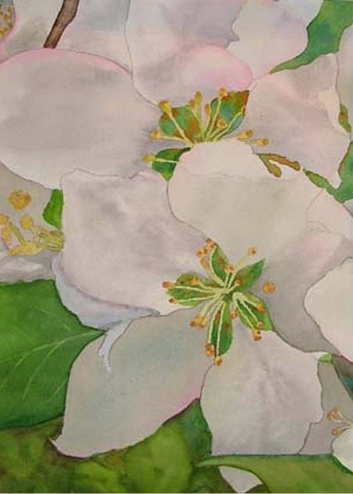 Apple Blossoms Greeting Card featuring the painting Apple Blossoms by Sharon E Allen