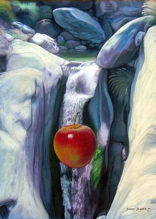 Apples Greeting Card featuring the digital art Apple Falls by Snake Jagger