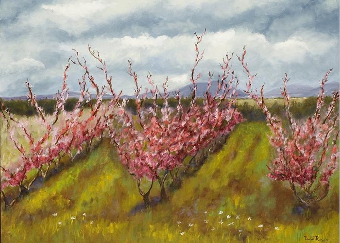 Apple Tree Greeting Card featuring the painting Apple Hill Springtime by Brenda Williams