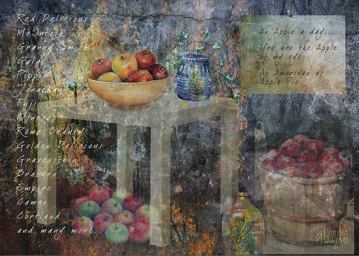 Apple Greeting Card featuring the digital art Apple Montage by Arline Wagner